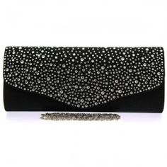 A beautiful black satin evening clutch bag with diamante detail.  Diamante detail to the front scallop and plain black satin to the back.  Silver magnet closure.  Black lining and internal pocket.  Detachable silver link chain measuring 120cm.  Size (cm): 29 wide x 12 high x 5 deep Black Clutch Bags, Bags Uk, Plain Black, Black Satin, Evening Bags, Classic Style, Vintage Fashion, Deep