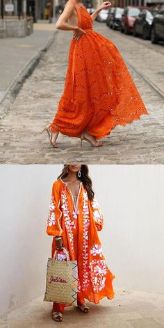 Women's maxi dresses, suitable for formal wear, free shipping on order $69+, shop now! #women #dress #orange