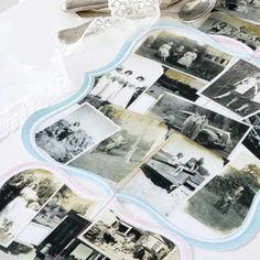 Table runner using vintage photos Antique Pictures, Old Pictures, Vintage Photos, Seating Plan Wedding, Wedding Memorial, Photo Memories, Photo Craft, Photo Displays, Table Runners
