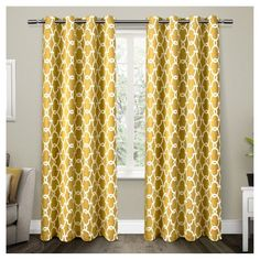 """Set Of 2 / Pair Gates Blackout Thermal Grommet Top Window Curtain Panels Yellow (52""""X96"""") Exclusive Home"""