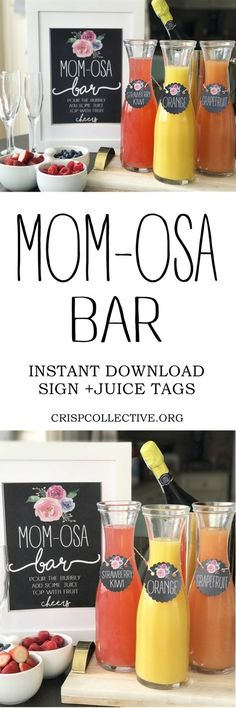 Perfect for a baby shower or to celebrate this Mother's Day! FREE printables and all the items you will need for this fun mimosa bar setup!
