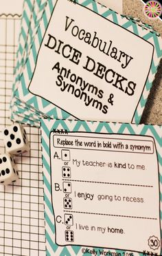 Looking for ideas to increase engagement with your students? DICE DECKS interactive task cards teach specific skills while keeping their attention! Great for individual, small group (speech therapy, RTI, etc.), or even whole-class learning. Click to view this Antonyms and Synonyms vocabulary set!