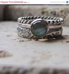 Rose cut gemstone ring - Unique sterling silver and labradorite stacking engagement ring or every day casual wear. Rustic, stormy blue rose cut