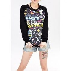 $7.86 Cartoon Doodle Print Loose-Fitting Cotton Color Matching Sweatershirt For Women