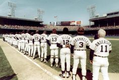 The 1984 team lines up for the national anthem at Tiger Stadium on Opening Day. The Tigers went on to win the World Series that year. (Detroit News Archives)