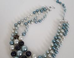 Signed Japan Vintage Multistrand Faux Pearls - Vintage Marbled Glass and Pearl Necklace - Blue and Ivory Pearl Necklace - Costume Jewelry- Edit Listing - Etsy