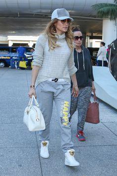 Jennifer Lopez  Versace Medusa Duffle Bag, Versace Leather Medusa High-Top Sneakers