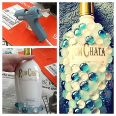 21st birthday Bedazzled Bottle! I used a hot glue gun and glass marbles from Walmart. Very easy and fast Gift for your friends turning 21!