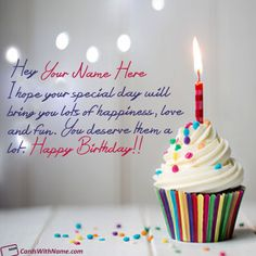 Birthday Wishes Cupcake Ideas With Name Editing Photo On Best Online Generator And Send Printable Happy Cards Options