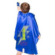 Blue Rocket Superhero Cape With Matching Eye Mask and Wristbands >>> Want additional info? Click on the image.