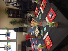 back to school luncheon.  Decorations with school supplies
