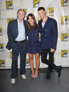 """Comic-Con 2013: Doctor Who Panel (L-R) Actors David Bradley, Jenna Coleman, and Matt Smith speak onstage at BBC America's """"Doctor Who"""" 50th Anniversary panel during Comic-Con International 2013 at San Diego Convention Center on July 21, 2013 in San Diego, California. (Photo by Albert L. Ortega/Getty Images)"""