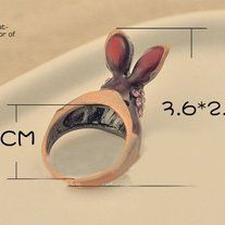 Dainty ring that has bunny charm.  #ring #bunny #cute #trendy #style #charmsandstyle  Inner diameter: 17.5mm  Metal Color: Antique Gold Plated Material: Rhinestone