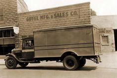 A photograph of an early delivery truck for the Giffel MFG. & Sales Co.