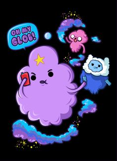 Lumpy Space Princess with Finn and Jake in the lumpy space