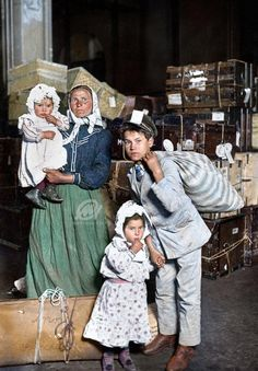 Italian Immigrants arrive at Ellis Island, 1905. Lost baggage is the cause of their worried expressions.