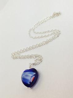 Lampwork Heart Necklace Royal Blue Drop by LynnsGemCreations