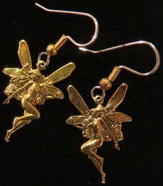 Enchanting Fairy Earrings 24 Karat Gold Plate Pixie Brownie Sprit Elf Imp EG194 Fairies by NostalgicCharm on Etsy