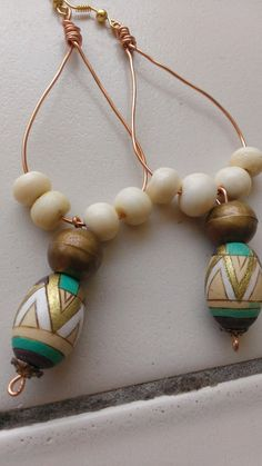 Egyptian Chandelier Drop Earrings with African Tribal Beads and Handpainted Egyptian wooden beads