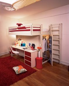 Contemporary Bedroom Design Small Space Loft Bed Teenager Student « Interior Images, Photos and Pictures Gallery « DesignWagen Narrow Rooms, Small Rooms, Small Spaces, Kids Rooms, Cool Loft Beds, Bunk Beds With Stairs, Teenage Beds, Mezzanine Bed, Simple Bedroom Design