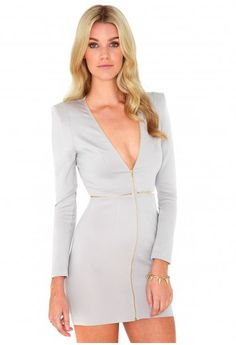 NYE option. Ordered this Wed from UK, arrived yesterday! Free shipping too! Sizing is confusing (I wear a 5, ordered a 10, received a 14) but it fits! Missguided - Dabra Zip Detail Bodycon Mini Dress In Grey