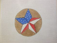 $9.95      USA Texas Red White Blue Star Christmas Ornament Handpainted Needlepoint Canvas