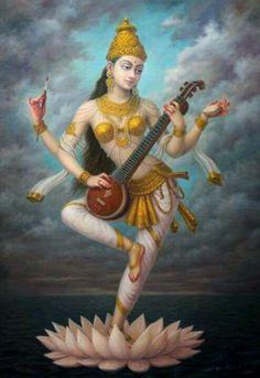 Goddess Saraswati devi Saraswati: Goddess of Knowledge & Arts Saraswati Goddess, Goddess Art, Durga, Lord Saraswati, Indian Gods, Indian Art, Shiva, Krishna, Religion