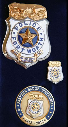 Fort Worth police 100th year anniversary badge set from blackinton badge company.
