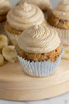 Dairy Free Banana Cupcakes with Brown Sugar Buttercream (Dairy Free) #silkbloom #ad