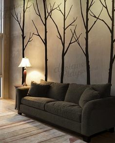 MairGwall Winter Tree Wall Decals Six Trees Wall Stickers for Living Room and Office Room (S-Custom Color)