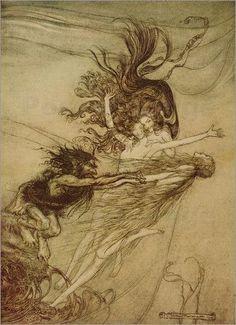 """Die Rheintöchter necken Alberich von """"Das Rheingold und Die Walküre"""" von Richard Wagner Bilder: Poster von Arthur Rackham bei Posterlounge.de"""
