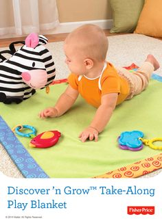 Ditch the beach towel. The Discover 'n Grow™ Take-Along Play Blanket gives baby way more space to crawl around (without getting sandy!). Plus, it's perfect for laying down on hotel floors. #Playtime #Travel #Vacation