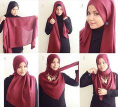 Hijab tutorial on how Aishah Amin from The Hijab Diaries wears her . Hijab how to wear hijab Square Hijab Tutorial, Simple Hijab Tutorial, Hijab Style Tutorial, Scarf Tutorial, How To Wear Hijab, Hijab Wear, Hijab Outfit, Street Hijab Fashion, Islamic Fashion