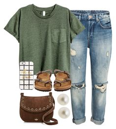 Military green top, boyfriend jeans, taupe Birkenstock sandals, chocolate crossbody bag