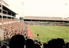 A packed White Hart Lane crowd watches Tottenham take on West Ham in 1983