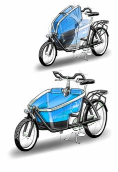 Gazelle Cabby cargo bike design sketch
