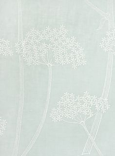 Anise Embroidered Fabric Duck egg Linen fabric with embroidered aniseed plant design in white. Suitable for Curtains and General Domestic Upholstery.
