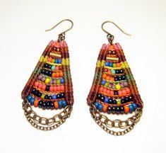 Woven Temple Earrings in Camel & Pink Multicolor by AMiRAjewelry, $68.00