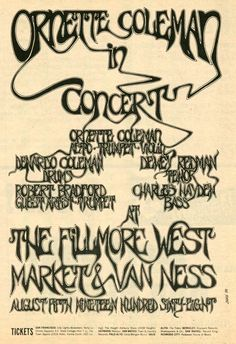 Ornette Coleman at Fillmore West in 1968