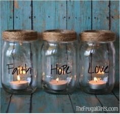 Jar Candles- This would be neat to do with baby food jars, too, as place holders with guests names on them.