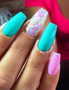 ♥ | #kimskie Bright Summer Gel Nails, Summer Nails 2018, Nail Summer, Spring Nails, Bright Nail Designs, Nail Art Designs, Gel Nail Colors, Gel Nail Art, Acrylic Nails
