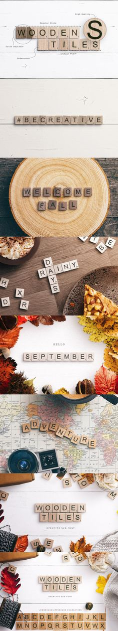 Introducing Wooden Tiles a Scrabble-Like OpenType SVG font a great font to express your thoughts and quotes within your already taken pictures or custom Uppercase Alphabet, Great Fonts, Welcome Fall, Custom Fonts, Special Characters, Custom Design, Tiles, Wood, Prints