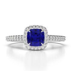 Gold / Platinum Cushion and Round Cut Sapphire and Diamond Engagement Ring Gold Platinum, Diamond Engagement Rings, Sapphire, Cushion, White Gold, Jewellery, Jewels, Schmuck, Cushions