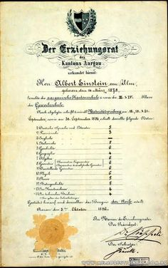 Boletim escolar do maior gênio que pisou na face da terra: Albert Einstein.
