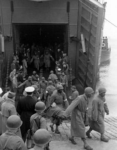 Wounded D-Day soldiers arriving in Portland Harbour in Dorset, England.