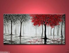 24x48 inches Arts Abstract Canvas Modern Wall oil painting:red tree(no Framed)