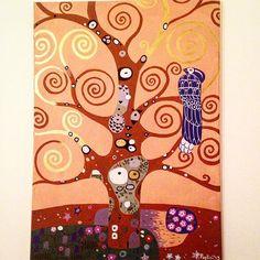 #citandoklimt #klimt #gold #dipintosutela #dipinto #pittrice #oro #fattoamano #fattoamanoconamore #spirale #spirali #alberodellavita #albero