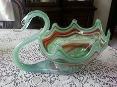 Vintage Murano Glass Large Swan Hand Blown Swan Dish Multi Colored Art Glass   eBay 1970's