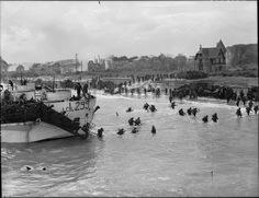 Normandy Landing View looking east along 'Nan White' Beach, showing personnel of the Canadian Infantry Brigade landing from LCI(L) 299 of the Canadian RN) Flotilla on D-Day.(photo by G. Milne, courtesy Library and Archives Canada, Normandy Beach, D Day Normandy, Normandy France, Canadian Soldiers, Canadian Army, Canadian History, American History, Portsmouth, Churchill