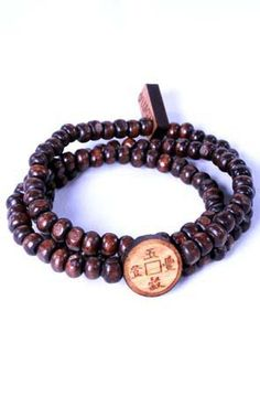 Chinese Coin Pendant (Jatoba wood) on small dark brown beads completing the wrap bracelet.